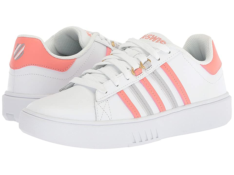 K-Swiss Pershing Court CMF (White/Burnt Coral/Vapor Blue) Women