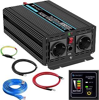 1000W convertidor de Voltaje de Onda sinusoidal Pura de Coche-convertidor de Coche 24v a 230v -convertidor de inversor con 2 enchufes EU y Puerto USB-Incl. Mando a Distancia de 5 Metros