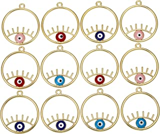 12PCS Evil Eye Gold Charms Round Metal Plated Alloy Jewelry Making Charms for DIY Necklaces,Earrings,Bangles Pendants Ideal Gift for Crafting Lovers,Girls,Women