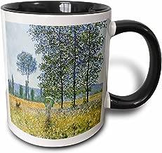 3dRose 126619_4 Sunlight Effect Under The Poplars By Claude Monet 1887 Mug, 11 oz, Black