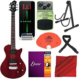 Hagstrom Ultra Swede ESN Electric Guitar Transparent Wild Cherry with TC Electronic PolyTune Polyphonic Tuner, Behringer TO800 Vintage Tube Overdrive Pedal, Guitar Stand, and Deluxe Accessory Bundle