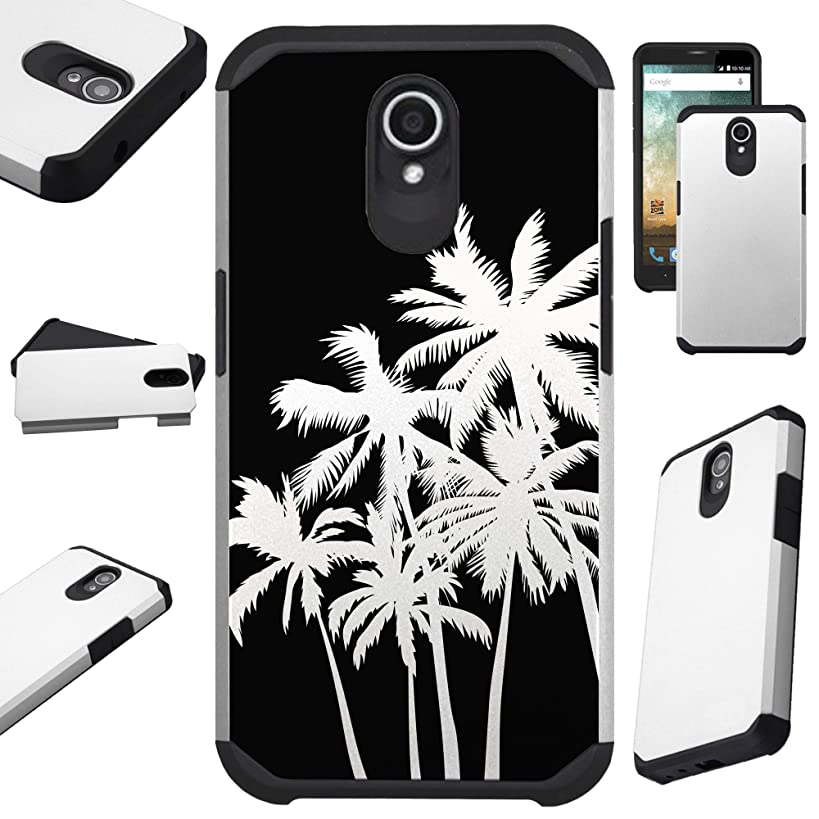 Compatible Cricket Vision (2018) Case Hybrid TPU Fusion Phone Cover (Night Palm Tree)