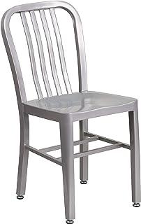 Flash Furniture Commercial Grade Silver Metal Indoor-Outdoor Chair