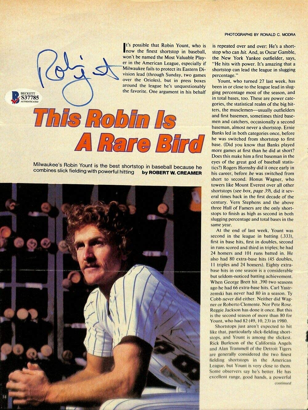 Milwaukee Mall Robin Yount Autographed Signed Online limited product Page S3778 BAS Magazine