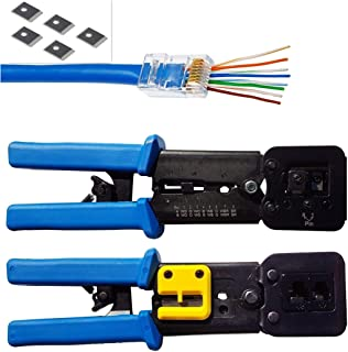 RJ45 Crimp Tool for Pass through and legacy connectorsProfessional High Performance Crimper Tool by Ethernet Connector for pass through and legacy connectors and RJ-11, RJ-12 Legacy Connectors