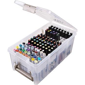 ArtBin Satchel with Marker Tray Art & Craft Organizer [1] Plastic Storage Case Clear, 15.25 x 8 x 6.25, Translucent