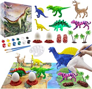 Kids Dinosaur Painting Kit with Play Mat, Animal Crafts and Arts Supplies Set, Decorate Your Own Dinosaur Figurines DIY Pa...