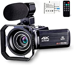 4K Camcorder Vlogging Camera for YouTube Ultra HD 4K 48MP Video Camera with Microphone & Remote Control WiFi Digital Camer...