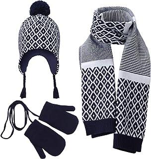 Vivobiniya Baby Boy Winter Hat Scarf Gloves 3pcs/Set Kid boys Knit hats