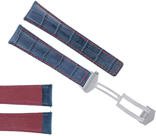22MM MONACO LEATHER WATCH BAND STRAP DEPLOYMENT CLASP FOR TAG HEUER BLUE RED