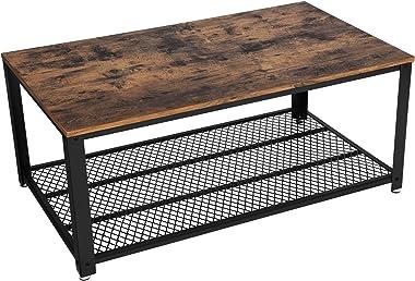VASAGLE LCT61X - Tavolino da Salotto dal Design Industriale, Mobile Porta TV con Ampio ripiano, Piedini Regolabili con Protezione per Il Pavimento, Struttura in Metallo, Stabile, Facile da Montare