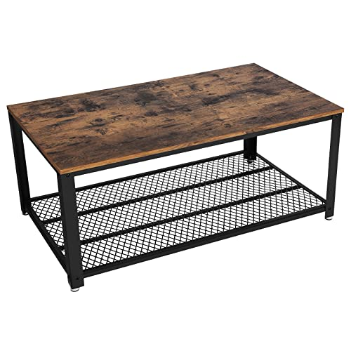VASAGLE Table Basse Vintage, Table de Salon, Bout de canapé, avec Grand Plateau, Armature métallique Rigide, Montage Facile, Aspect Vieux Bois LCT61X