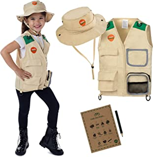 Explorer and Safari costume Vest and Hat Set for Kid Explorer and Outdoor Dress up and Role Play-Great for HALLOWEEN, Park...