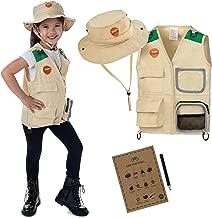 Born Toys Premium Explorer and Safari Costume Cargo Vest and Hat Set with Outdoor Nature Scavenger Hunt for Kid Explorer