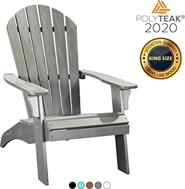 PolyTEAK King Size Adirondack Chair, Gray | Adult-Size, Weather Resistant, Made from Special Formulated Poly Lumber Plastic