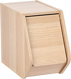 IRIS USA, SBD-NLB, Narrow Modular Wood Stacking Storage Box with Door, Light Brown, 1 Pack