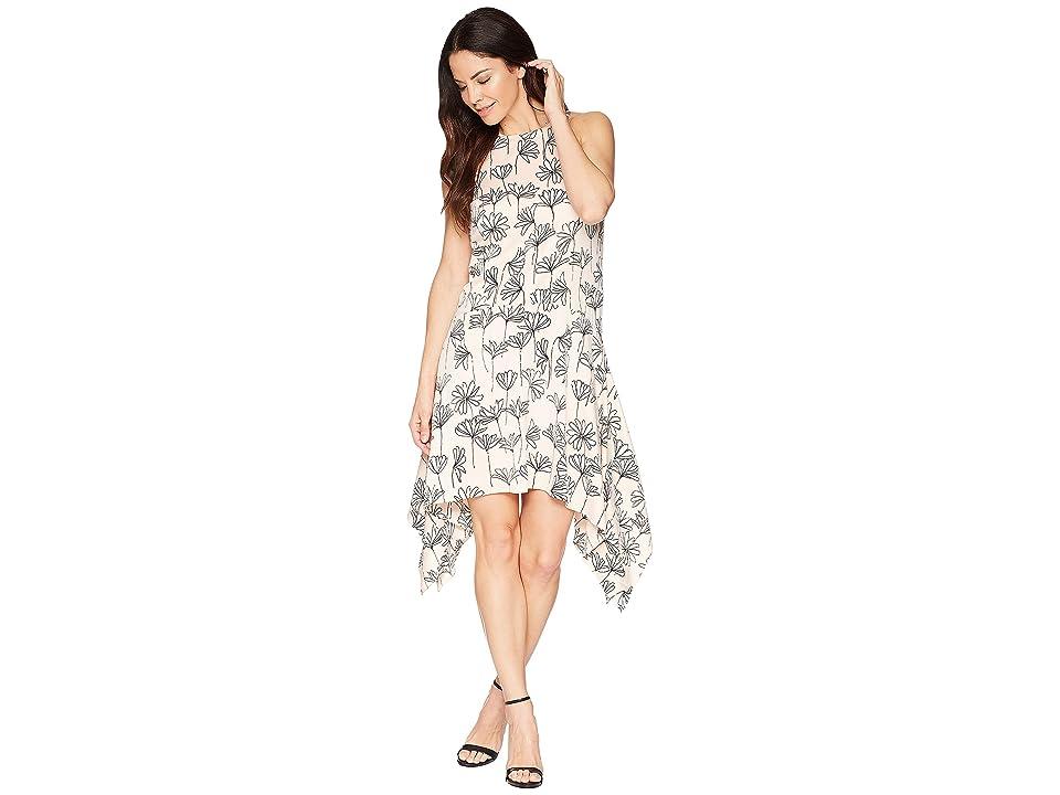 Maggy London Stick Flower Satin Seersucker Hanky Hem Trapeze Dress (Blush/Soft White) Women