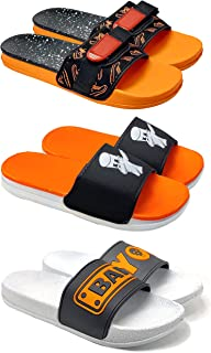 Camfoot Men's (1703-1704-1715) Multicolor Casual Stylish Slides Slippers (Set of 3 Pair)