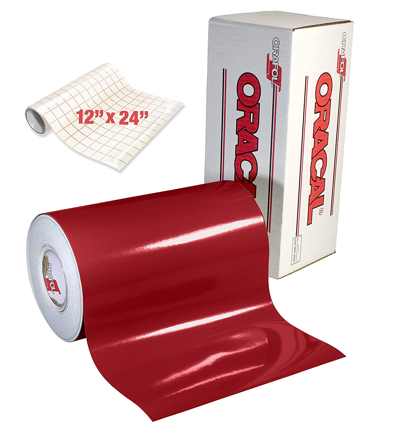 ORACAL 651 Gloss Dark Red Adhesive Craft Vinyl for Cameo, Cricut & Silhouette Including Free Roll of Clear Transfer Paper (6ft x 12