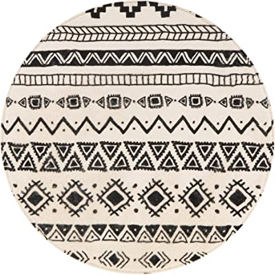 Lahome Bohemian Geometric Area Rug - 3' Diameter Faux Wool Non-Slip Area Rug Accent Distressed Throw Rugs Floor Carpet for Living Room Bedrooms Decor (Round - 3' Diameter, Black & Off-White)