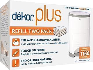 Dekor Plus Diaper Pail Refills | 2 Count | Most Economical Refill System | Quick & Easy to Replace | No Preset Bag Size – ...