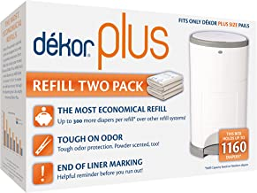 Dekor Plus Diaper Pail Refills | 2 Count | Most Economical Refill System | Quick & Easy to Replace | No Preset Bag Size – ...