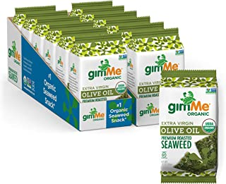gimMe Organic Roasted Seaweed, Extra Virgin Olive Oil, Non GMO, Gluten Free, Keto, Paleo Healthy on-the-go Snack for kids ...