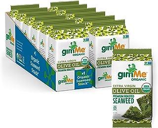 gimMe Organic Roasted Seaweed Sheets - Extra Virgin Olive Oil - 12 Sharing Packs - Keto, Vegan, Gluten Free - Great Source...