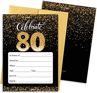 Black and Gold 80th Birthday Party Invitations - 10 Cards with Envelopes