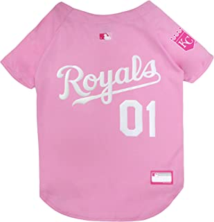 MLB Jersey for Dogs - Kansas City Royals Pink Jersey, Large. Cute Pink Outfit for Pets