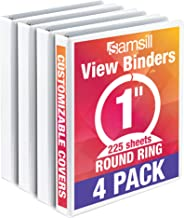 Samsill Economy 3 Ring View Binder, 1 Inch Round Ring – Holds 225 Sheets, PVC-Free / Non-Stick Customizable  Cover, White, 4 Pack