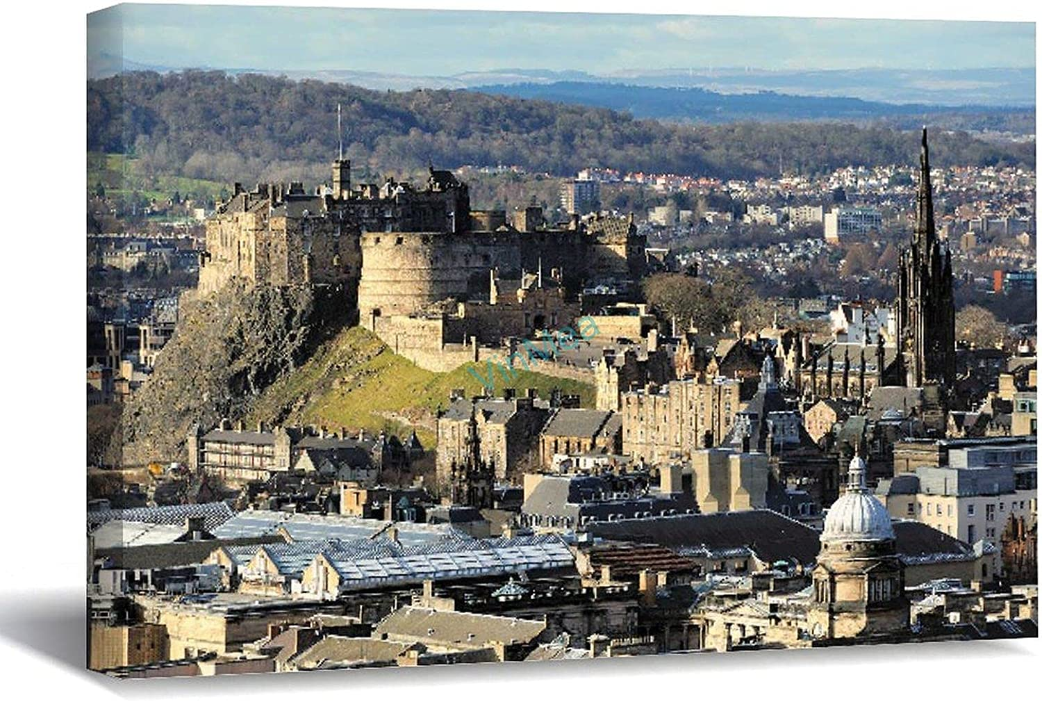 VinMea New sales Canvas Bombing free shipping Print Edinburgh Castle Strecthed Wr and Scotland