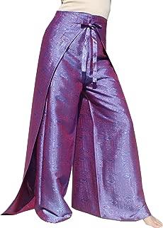 Raan Pah Muang Brand Geometric Thick Textured Silk Drive in Wrap Pants