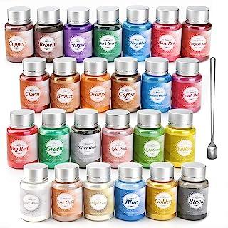 Epoxy Resin Dye- 25 Color Mica Powder - Pigment Powder for Bath Bomb,Soap Making Colorant, Resin Dye, Eye Shadow, Blush, N...
