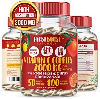 Vitamin C with Rose Hips 1000mg and Citrus Bioflavonoids ǀ Double Strength Immunity Booster, Collagen Support & Antioxidan...
