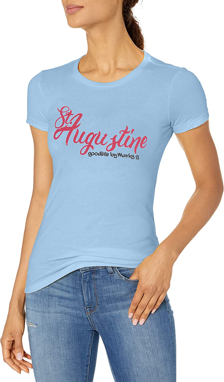 Marky G Apparel Womens Casual Short Sleeve Crewneck Tops Blouses Slim Fit T-Shirt with Vincent Printed