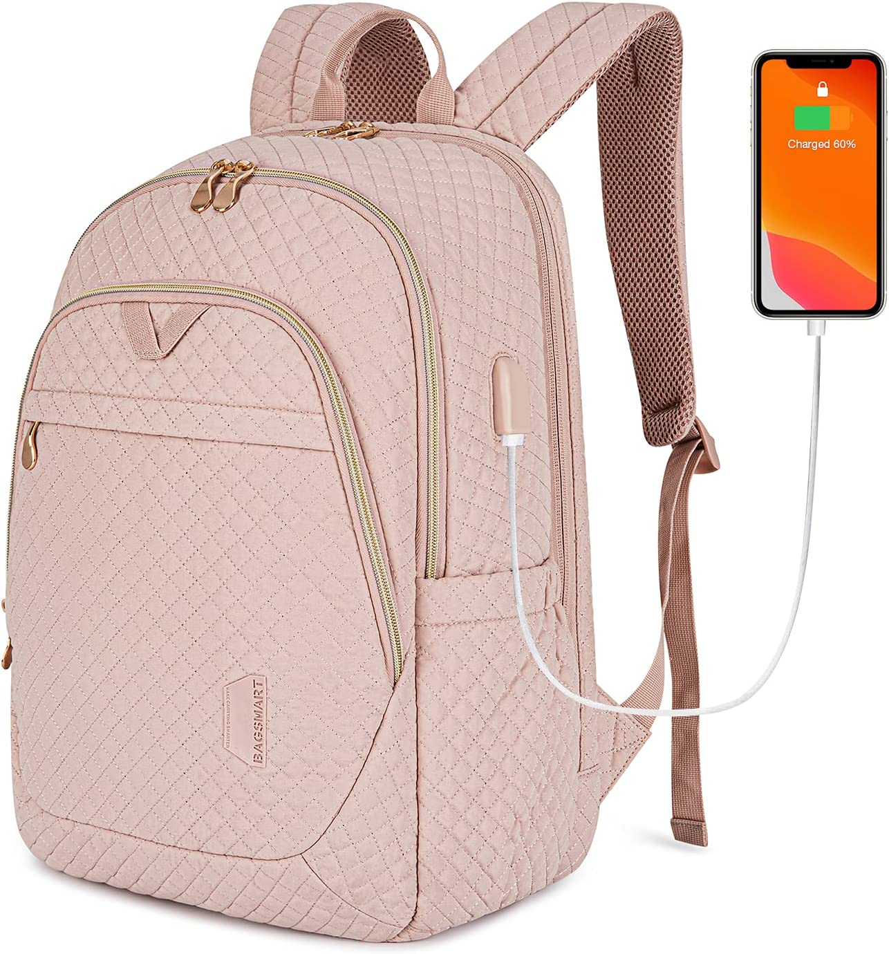 Womens Backpack BAGSMART Laptop Backpacks Travel Business with USB Charging Port 15.6 inch College School Computer Book Bag for men & women