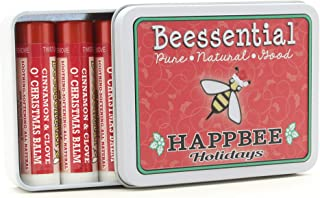 Beessential Natural Lip Balm Holiday Christmas Gift Tin, Cinnamon, 5 Pack - Heals and Prevents Dry and Chapped Lips – Great for Men, Women, and Children