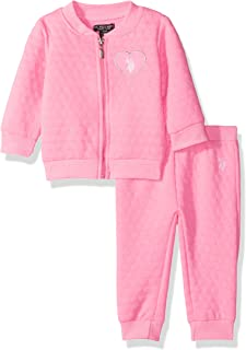 U.S. Polo Assn. Baby Girls' 2 Piece Fleece Jog Set