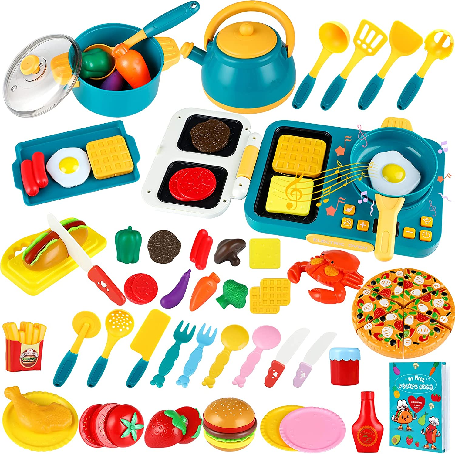 INNOCHEER Play Kitchen Accessories Set with Recipe Book, 48 Pcs Pretend Play Kitchen Toys Includes Pot and Pan, Cook top, Cutting Play Food and Vegetable, Pizza, Cooking Utensils for Toddlers Kids 3+