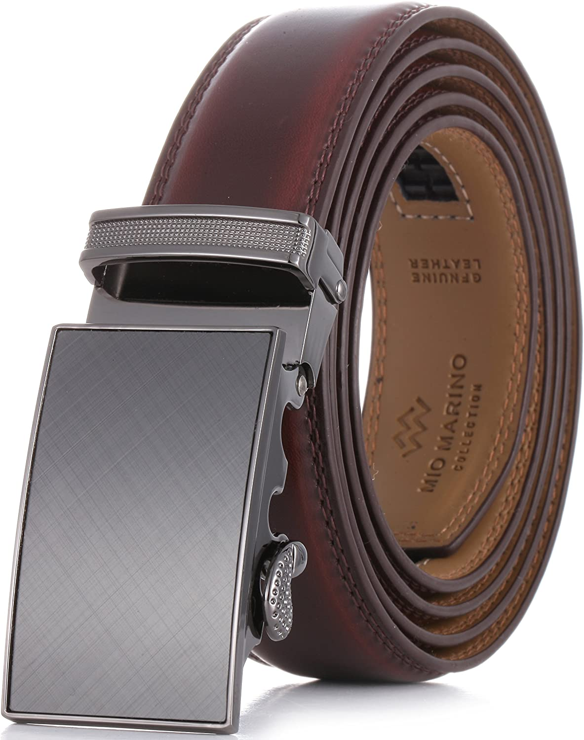 Marino Men's Genuine Leather Ratchet Dress Belt With Automatic Buckle, Trim to Fit Enclosed in an Elegant Gift Box