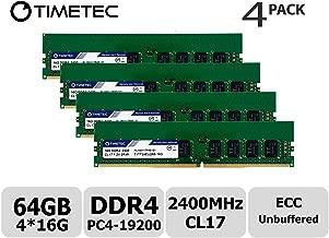 Timetec Hynix IC 64GB KIT (4x16GB) for Dell PowerEdge T30 Mini Tower Server DDR4 2400MHz PC4-19200 Unbuffered ECC 1.2V CL17 2Rx8 Dual Rank 288 Pin UDIMM Memory RAM Module Upgrade (64GB KIT (4x16GB))