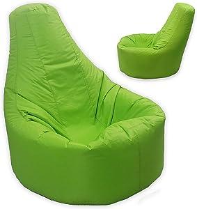 Puf MaxiBean relleno de judías con respaldo para adultos, tamaño grande XXL, para juegos y actividades en interiores y exteriores, color verde lima, impermeable y resistente a las condiciones meteorológicas