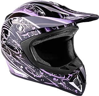 Typhoon Adult Women's Dirt Bike Helmet ATV Off Road ORV Motocross Helmet DOT Motorcycle Purple (Large)