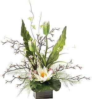 Petals - Lotus & Cherry Blossom Silk Flower Arrangement - Handcrafted - Amazingly Lifelike - 26 x 26 Inches