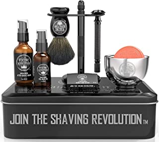 Luxury Safety Razor Shaving Kit - Includes Double Edge Safety Razor, Stand, Bowl, After-Shave Balm, Pre-Shave Oil, Badger ...