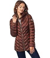 EcoPlume Hooded Packable Jacket in Lust