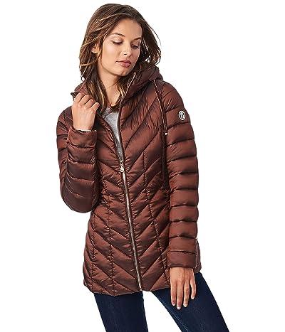 Bernardo Fashions EcoPlume Hooded Packable Jacket in Lust (Espresso) Women