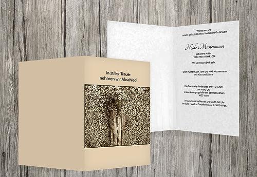 alta calidad y envío rápido Tarjeta de luto Hiedra para puerta, puerta, puerta, beige, 100 Karten  artículos de promoción