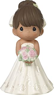 Precious Moments Perfect Couple Bride, Brunette Hair With Medium Skin Tone Bisque Porcelain Wedding Figurine & Cake Topper, 172065